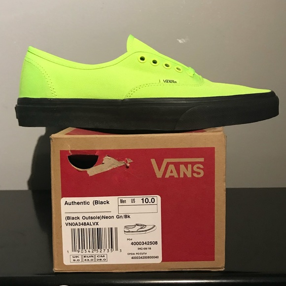 927785de59 VANS AUTHENTIC (Black Outsole) Neon Green  BlkSz10